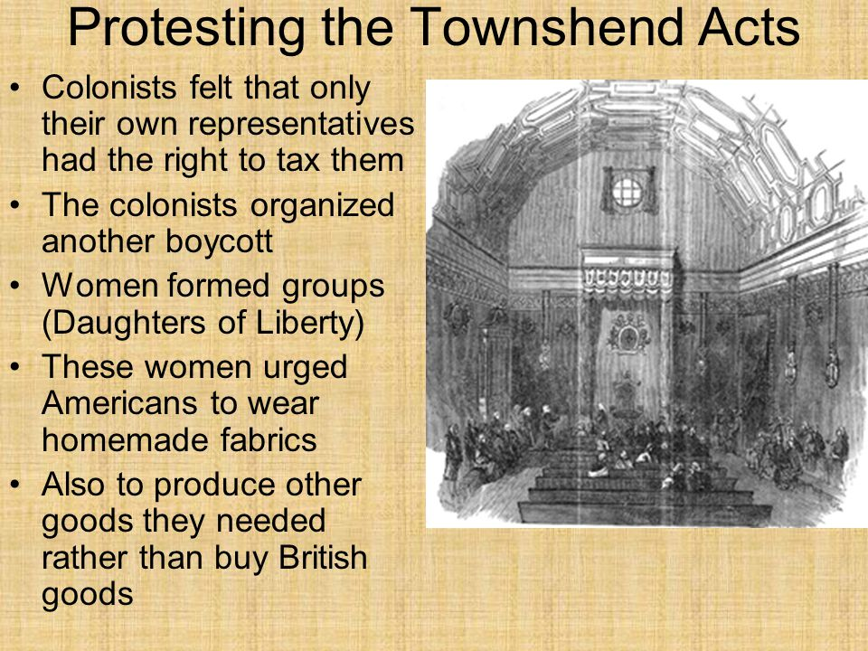 Protesting the Townshend Acts Colonists felt that only their own representatives had the right to tax them The colonists organized another boycott Wom