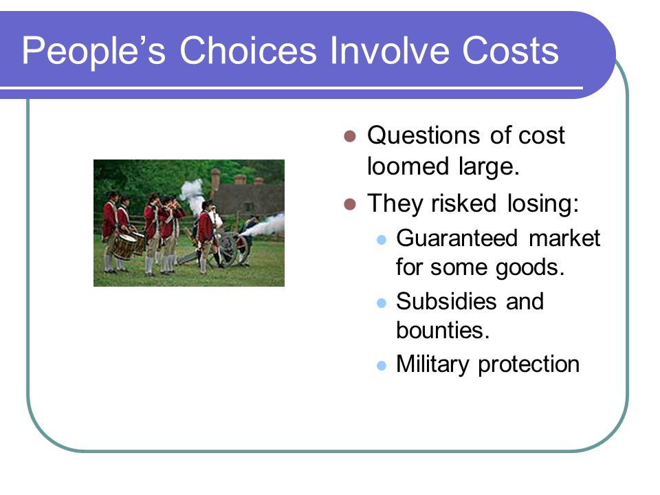 People's Choices Involve Costs Questions of cost loomed large.