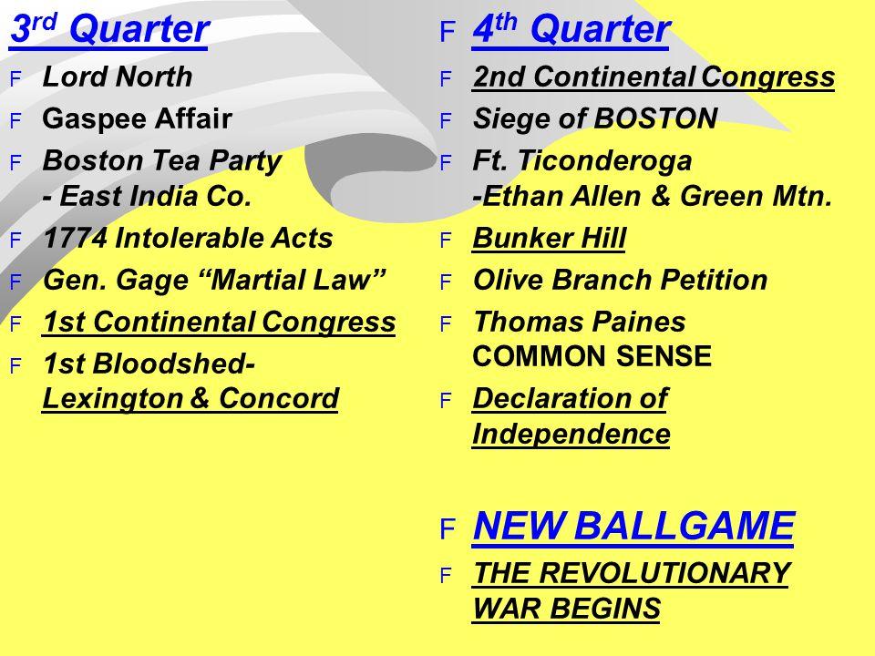 3 rd Quarter F Lord North F Gaspee Affair F Boston Tea Party - East India Co.