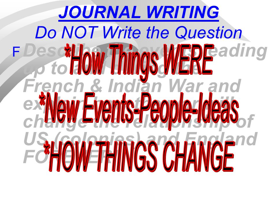 JOURNAL WRITING Do NOT Write the Question F Describe the events leading up to and during the French & Indian War and explain how the war will change t