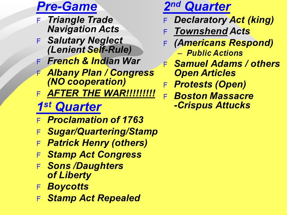 Pre-Game F Triangle Trade Navigation Acts F Salutary Neglect (Lenient Self-Rule) F French & Indian War F Albany Plan / Congress (NO cooperation) F AFTER THE WAR!!!!!!!!.