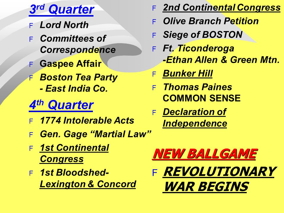 3 rd Quarter F Lord North F Committees of Correspondence F Gaspee Affair F Boston Tea Party - East India Co. 4 th Quarter F 1774 Intolerable Acts F Ge