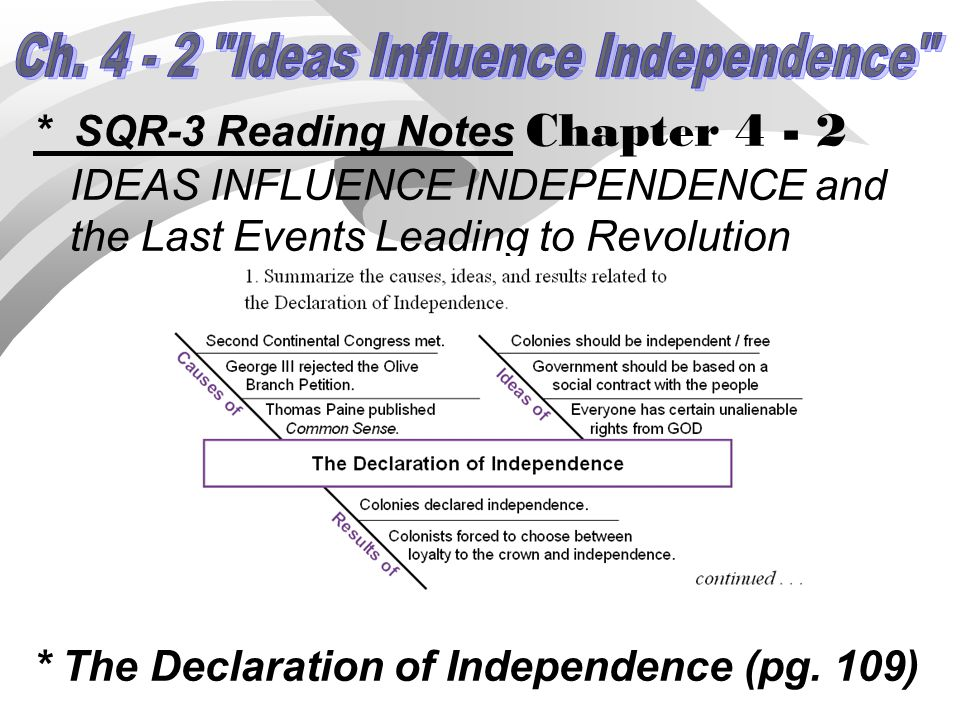 * SQR-3 Reading Notes Chapter 4 - 2 IDEAS INFLUENCE INDEPENDENCE and the Last Events Leading to Revolution * The Declaration of Independence (pg. 109)