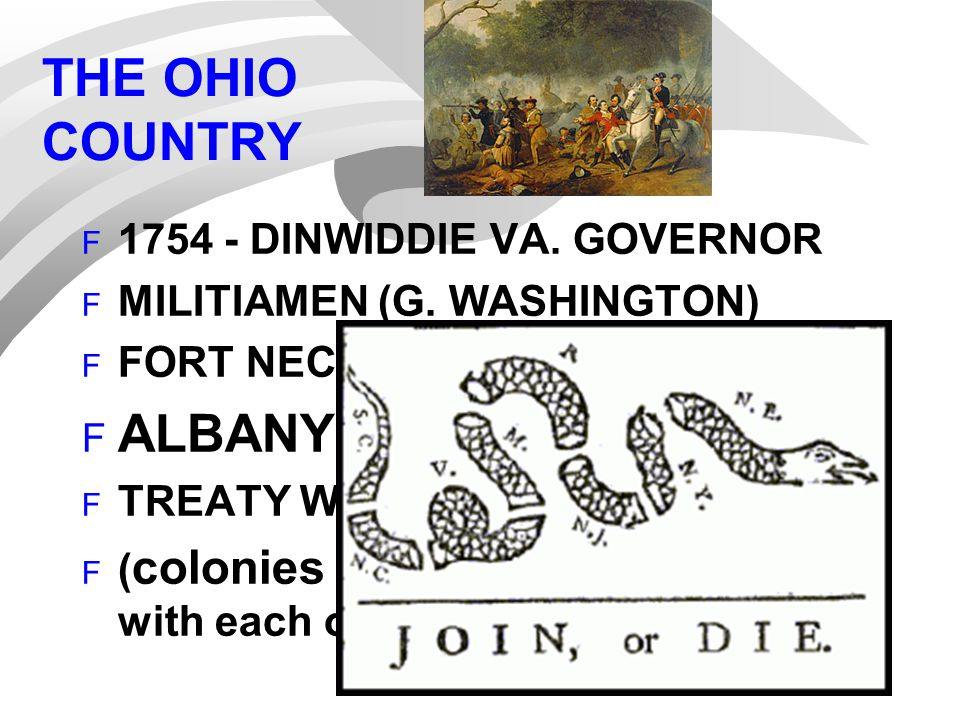 THE OHIO COUNTRY F 1754 - DINWIDDIE VA. GOVERNOR F MILITIAMEN (G. WASHINGTON) F FORT NECESSITY F ALBANY CONGRESS F TREATY WITH IROQUOIS F ( colonies -