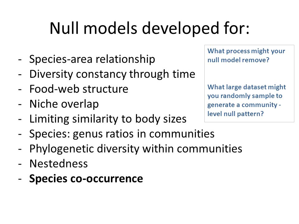 Null models developed for: -Species-area relationship -Diversity constancy through time -Food-web structure -Niche overlap -Limiting similarity to bod