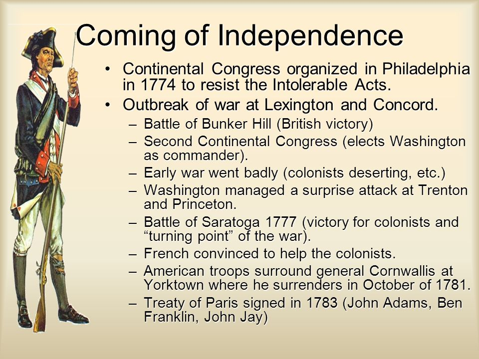Coming of Independence Continental Congress organized in Philadelphia in 1774 to resist the Intolerable Acts.Continental Congress organized in Philade