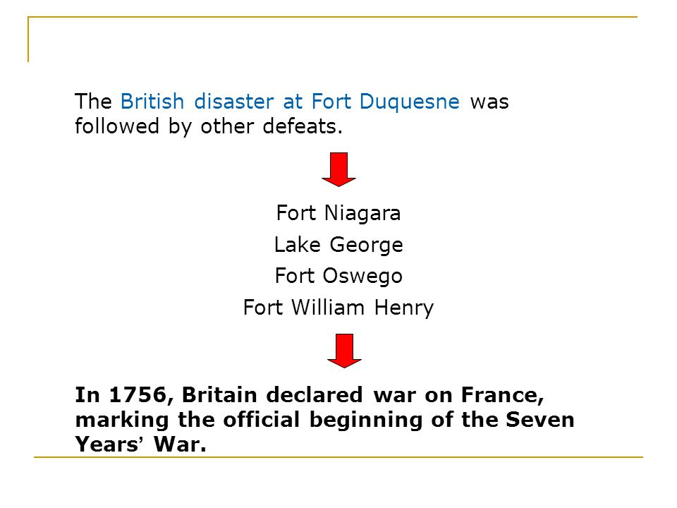 The British disaster at Fort Duquesne was followed by other defeats.