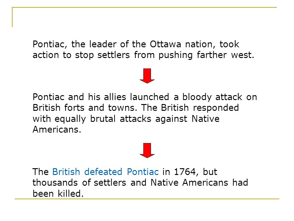 Pontiac, the leader of the Ottawa nation, took action to stop settlers from pushing farther west.
