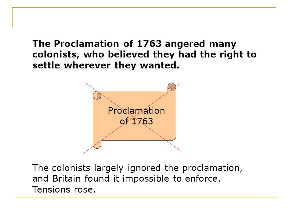The Proclamation of 1763 angered many colonists, who believed they had the right to settle wherever they wanted.