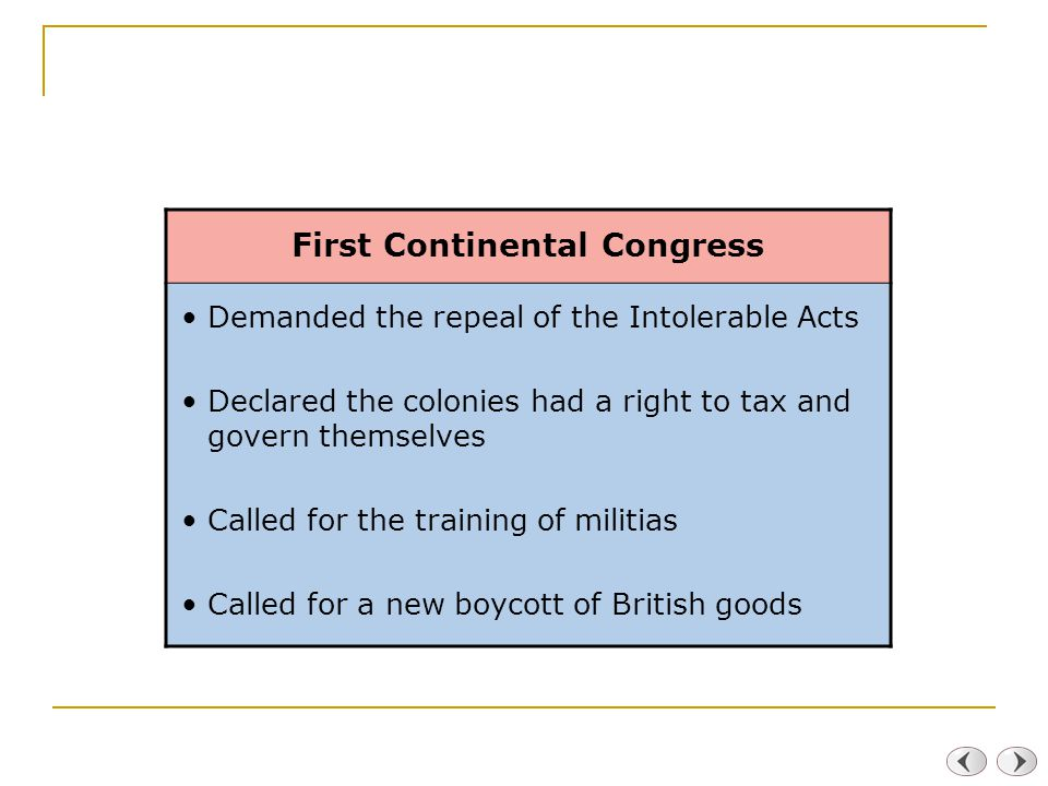 First Continental Congress Demanded the repeal of the Intolerable Acts Declared the colonies had a right to tax and govern themselves Called for the training of militias Called for a new boycott of British goods
