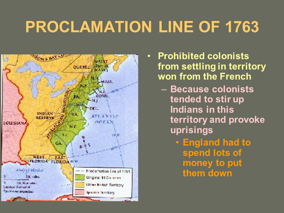 PROCLAMATION LINE OF 1763 Prohibited colonists from settling in territory won from the French –Because colonists tended to stir up Indians in this territory and provoke uprisings England had to spend lots of money to put them down