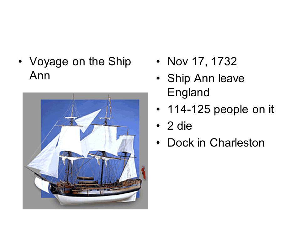 Voyage on the Ship Ann Nov 17, 1732 Ship Ann leave England 114-125 people on it 2 die Dock in Charleston