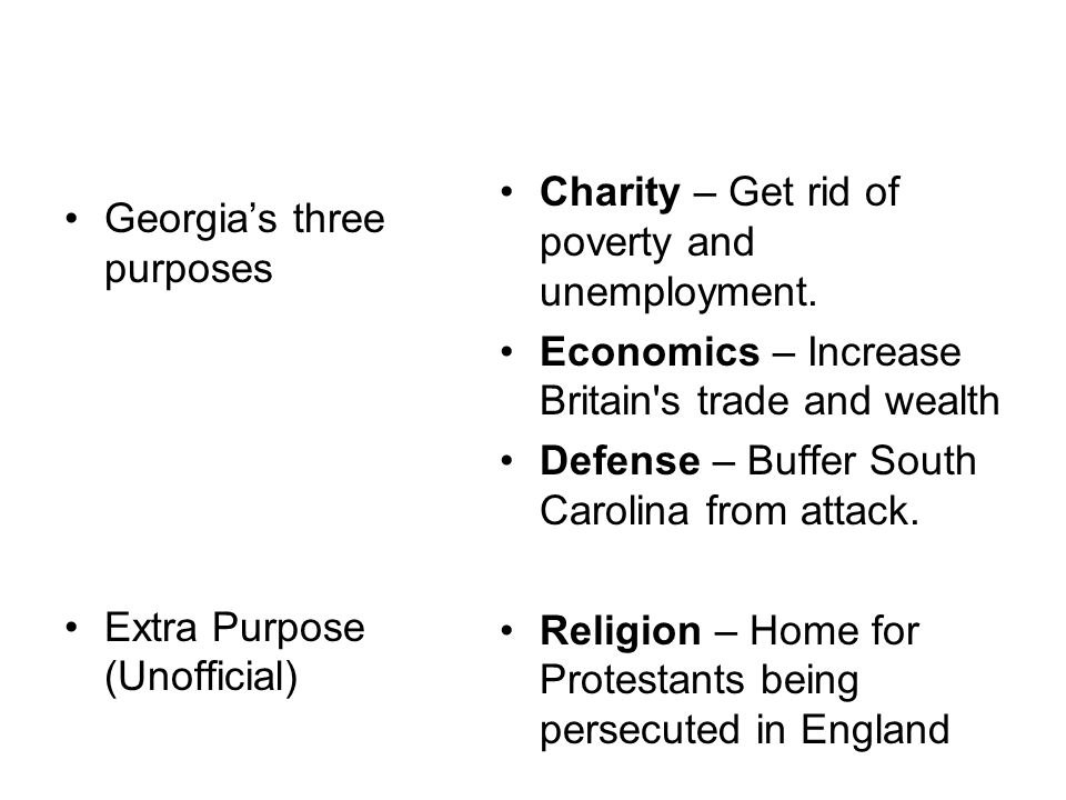 Georgia's three purposes Extra Purpose (Unofficial) Charity – Get rid of poverty and unemployment.