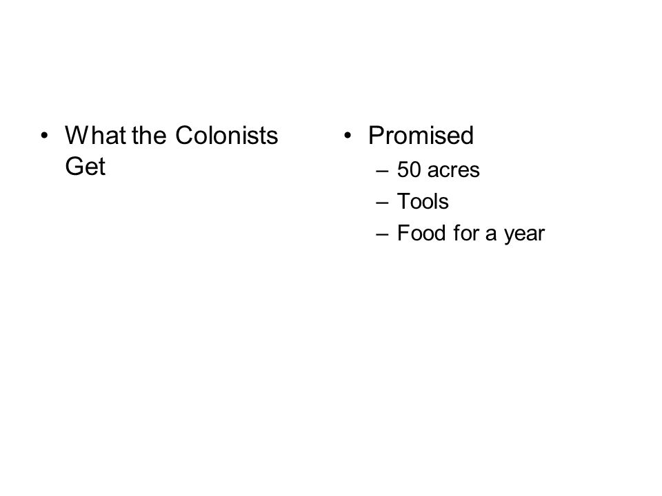 What the Colonists Get Promised –50 acres –Tools –Food for a year