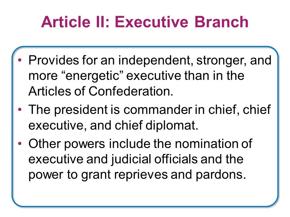 Article II: Executive Branch Provides for an independent, stronger, and more energetic executive than in the Articles of Confederation.