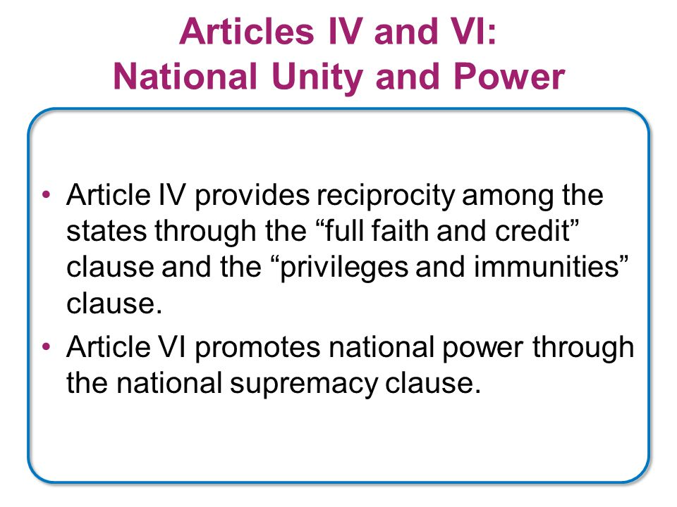 Articles IV and VI: National Unity and Power Article IV provides reciprocity among the states through the full faith and credit clause and the privileges and immunities clause.