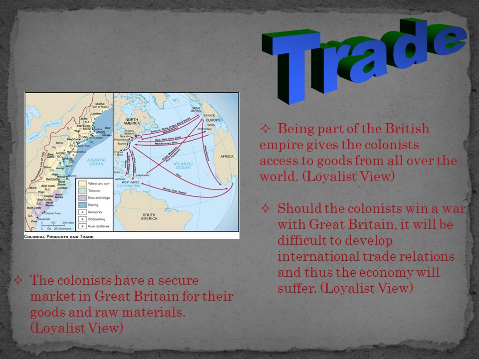  Being part of the British empire gives the colonists access to goods from all over the world. (Loyalist View)  Should the colonists win a war with