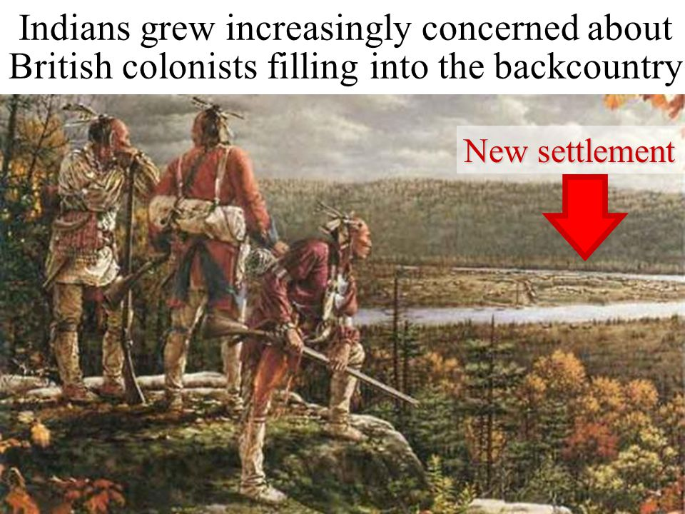Indians grew increasingly concerned about British colonists filling into the backcountry New settlement