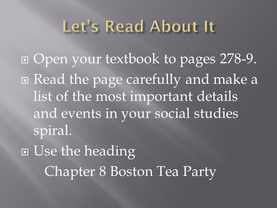  Open your textbook to pages 278-9.
