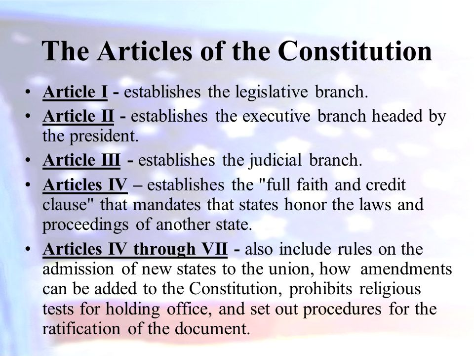 The Articles of the Constitution Article I - establishes the legislative branch. Article II - establishes the executive branch headed by the president