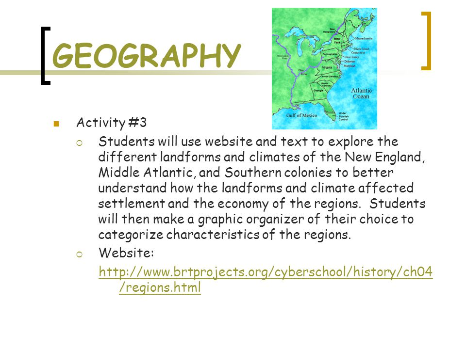 GEOGRAPHY Activity #3  Students will use website and text to explore the different landforms and climates of the New England, Middle Atlantic, and So