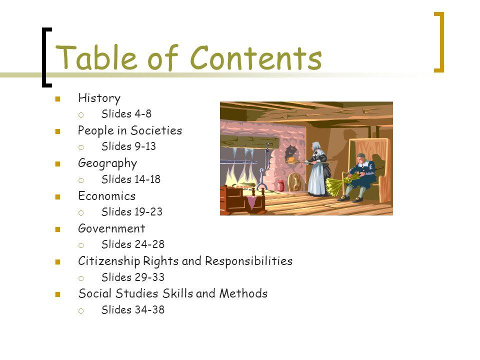 Table of Contents History  Slides 4-8 People in Societies  Slides 9-13 Geography  Slides 14-18 Economics  Slides 19-23 Government  Slides 24-28 C