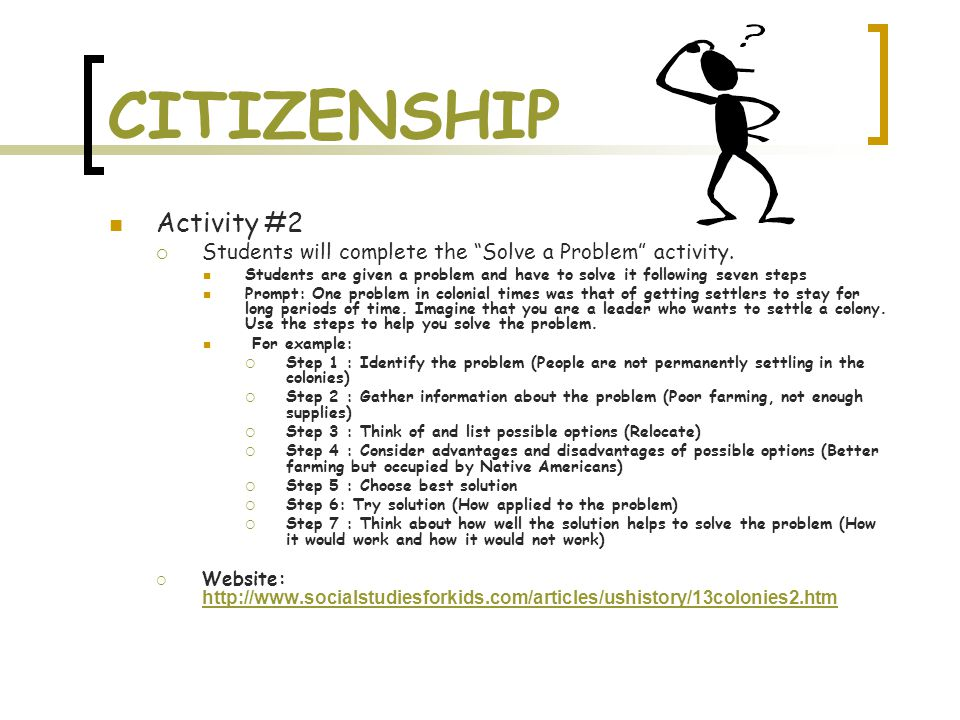 CITIZENSHIP Activity #2  Students will complete the Solve a Problem activity.