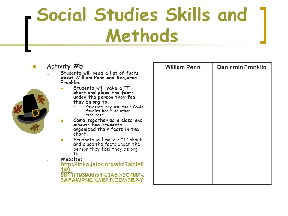 Social Studies Skills and Methods Activity #5  Students will read a list of facts about William Penn and Benjamin Franklin.