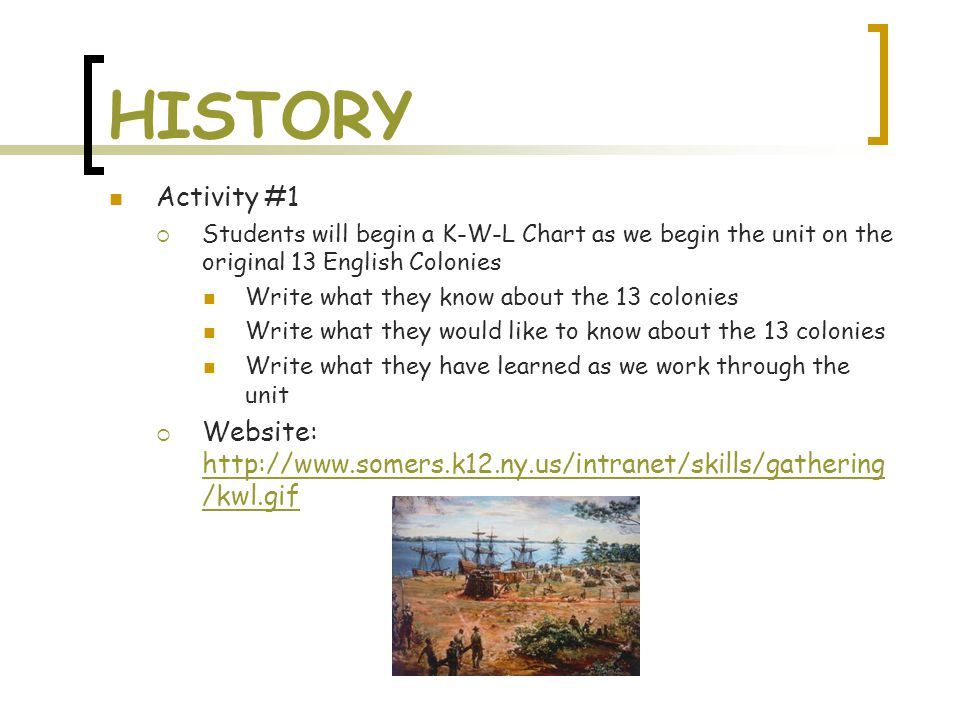 HISTORY Activity #1  Students will begin a K-W-L Chart as we begin the unit on the original 13 English Colonies Write what they know about the 13 colonies Write what they would like to know about the 13 colonies Write what they have learned as we work through the unit  Website: http://www.somers.k12.ny.us/intranet/skills/gathering /kwl.gif http://www.somers.k12.ny.us/intranet/skills/gathering /kwl.gif