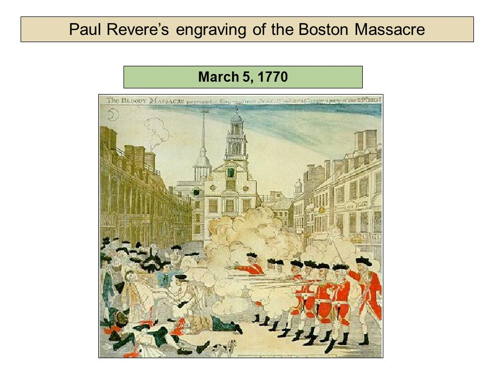 March 5, 1770 Paul Revere's engraving of the Boston Massacre
