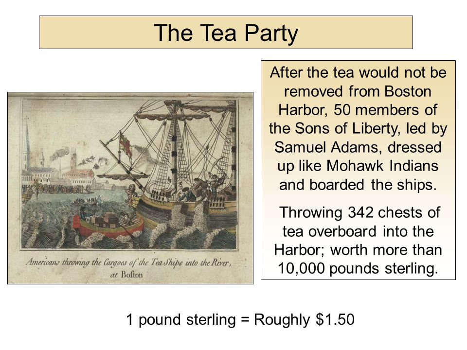 In about three hours from the time we went on board, we had thus broken and thrown overboard every tea chest to be found in the ship, while those in the other ships were disposing of the tea in the same way, at the same time.