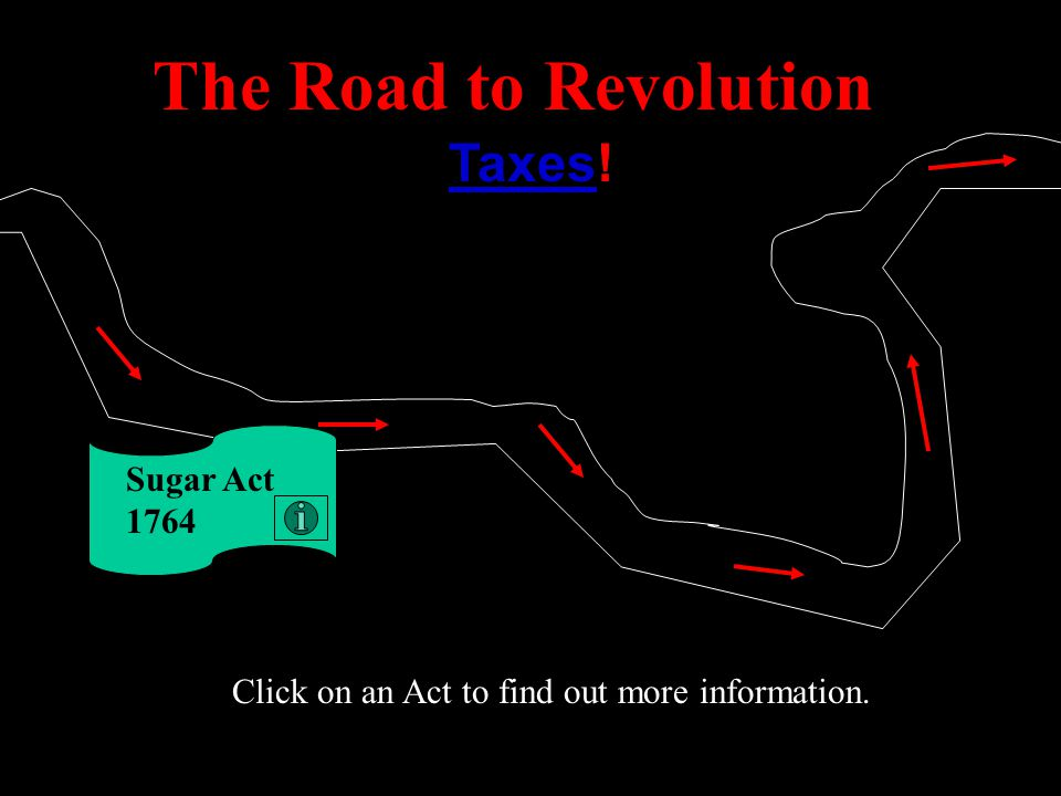 The Road to Revolution Taxes! Proclamation of 1763 Click on an Act to find out more information.