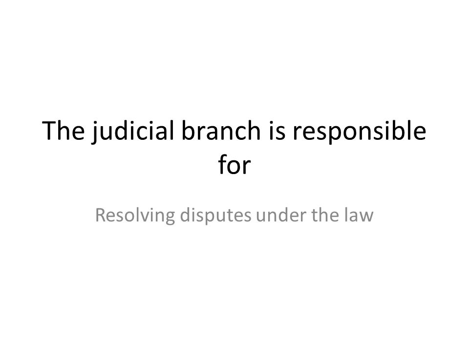 The judicial branch is responsible for Resolving disputes under the law