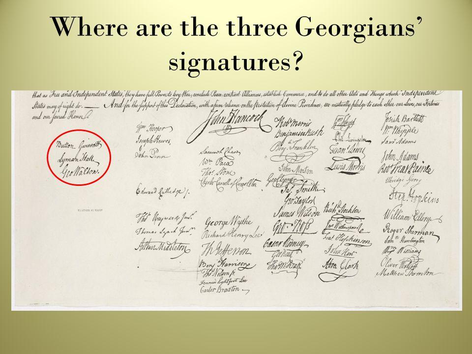 Where are the three Georgians' signatures?