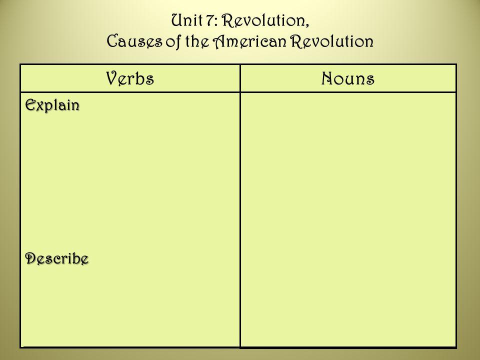 ExplainDescribe NounsVerbs Unit 7: Revolution, Causes of the American Revolution