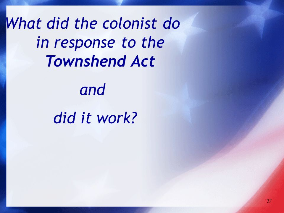 37 What did the colonist do in response to the Townshend Act and did it work?