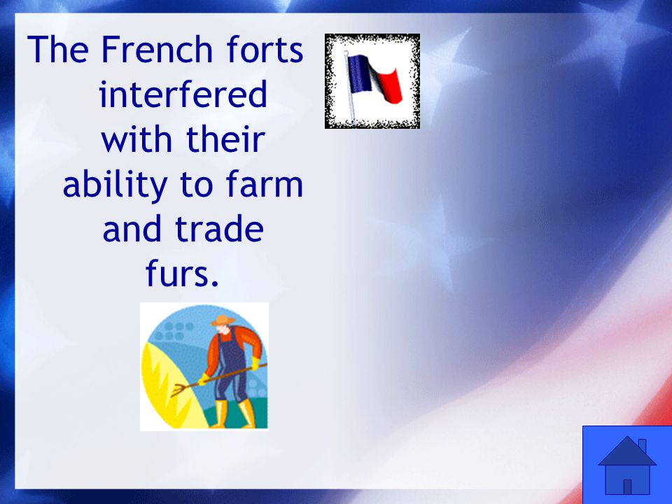 8 The French forts interfered with their ability to farm and trade furs.