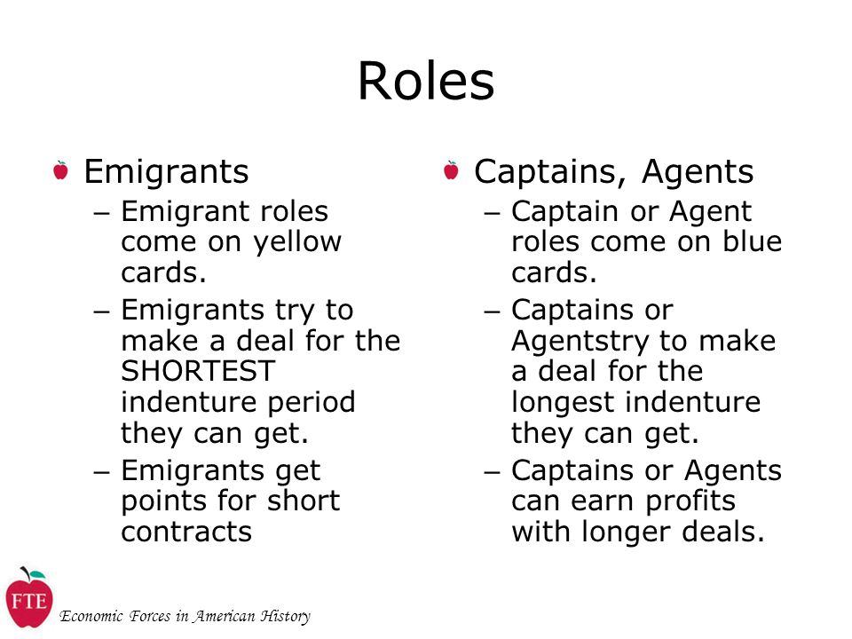 Economic Forces in American History Roles Emigrants – Emigrant roles come on yellow cards.