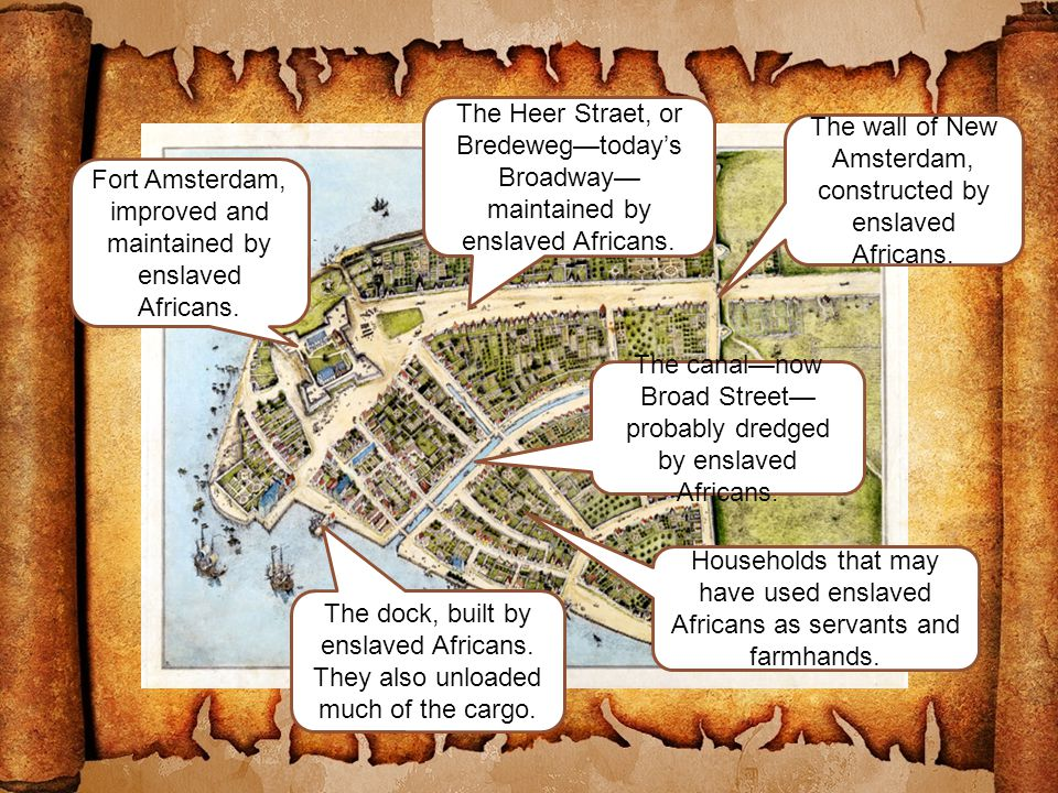 The wall of New Amsterdam, constructed by enslaved Africans.