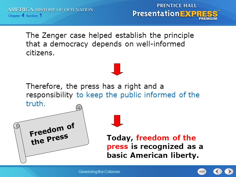 Chapter 4 Section 1 Governing the Colonies The Zenger case helped establish the principle that a democracy depends on well-informed citizens. Therefor