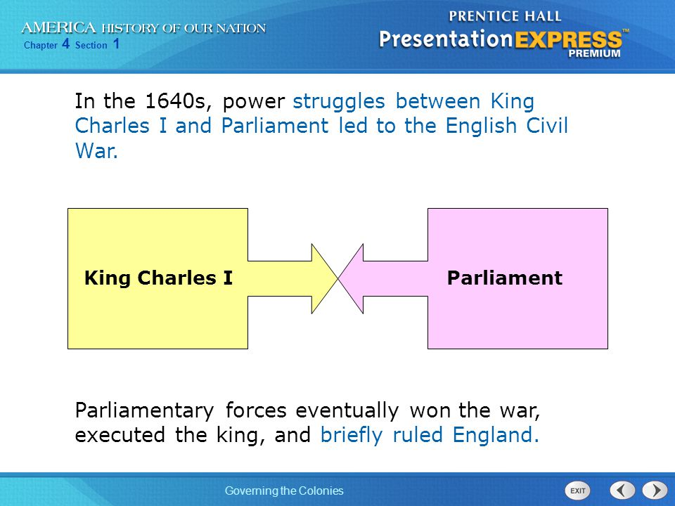 Chapter 4 Section 1 Governing the Colonies In 1660, the monarchy was restored, but Parliament retained its traditional rights.