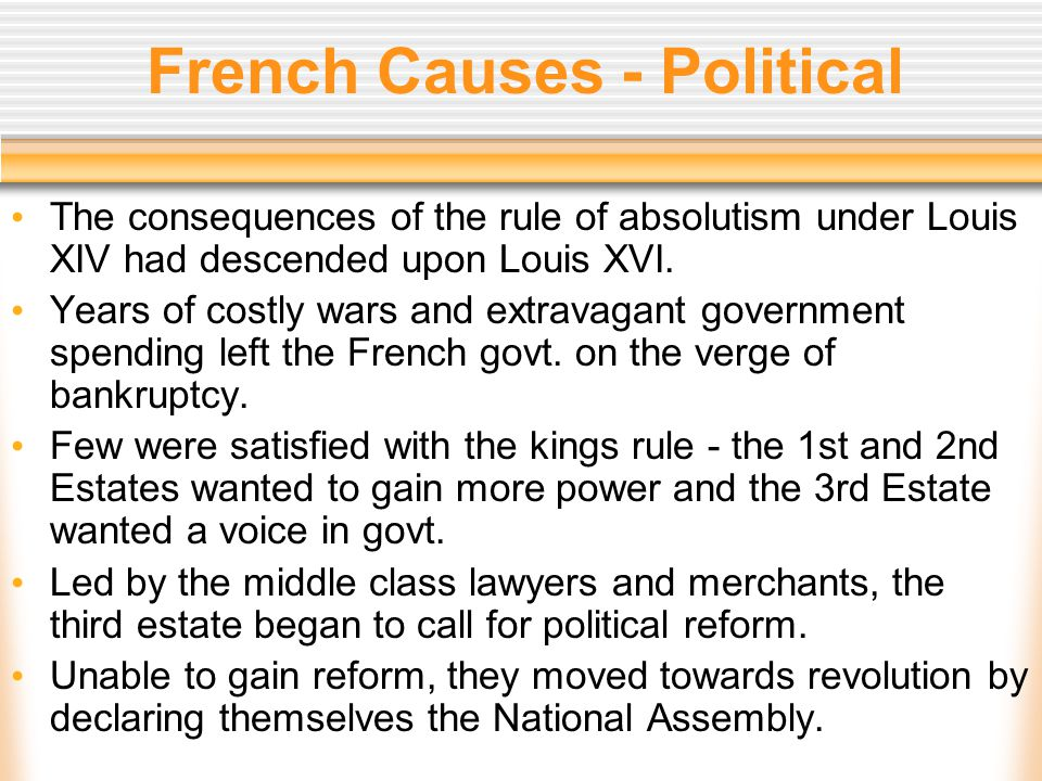 French and American Causes Intellectual The Enlightenment heavily influenced the American and French Revolutions.
