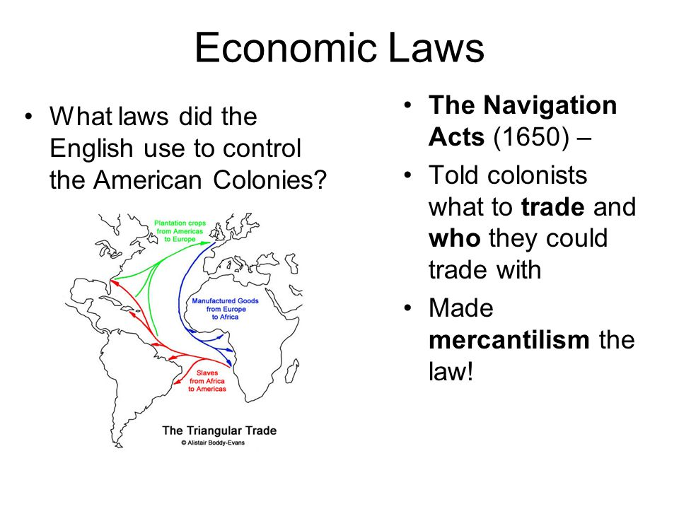 Economic Laws What laws did the English use to control the American Colonies.