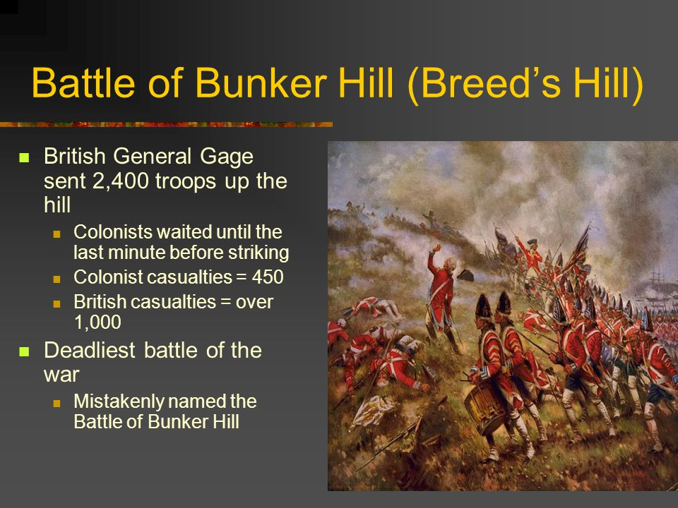 Battle of Bunker Hill (Breed's Hill) British General Gage sent 2,400 troops up the hill Colonists waited until the last minute before striking Colonist casualties = 450 British casualties = over 1,000 Deadliest battle of the war Mistakenly named the Battle of Bunker Hill