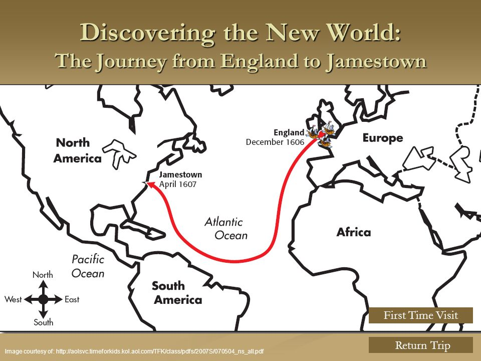 Discovering the New World: The Journey from England to Jamestown Image courtesy of: http://aolsvc.timeforkids.kol.aol.com/TFK/class/pdfs/2007S/070504_