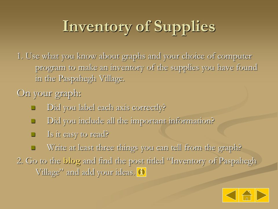 Inventory of Supplies 1. Use what you know about graphs and your choice of computer program to make an inventory of the supplies you have found in the