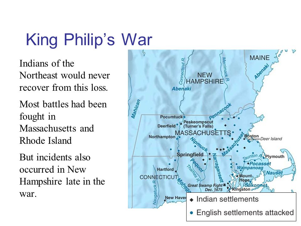 King Philip's War Indians of the Northeast would never recover from this loss.
