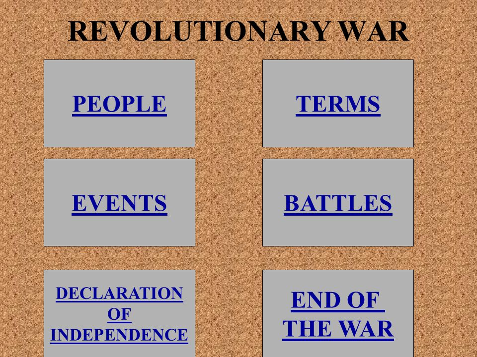 REVOLUTIONARY WAR PEOPLE EVENTSBATTLES TERMS DECLARATION OF INDEPENDENCE END OF THE WAR