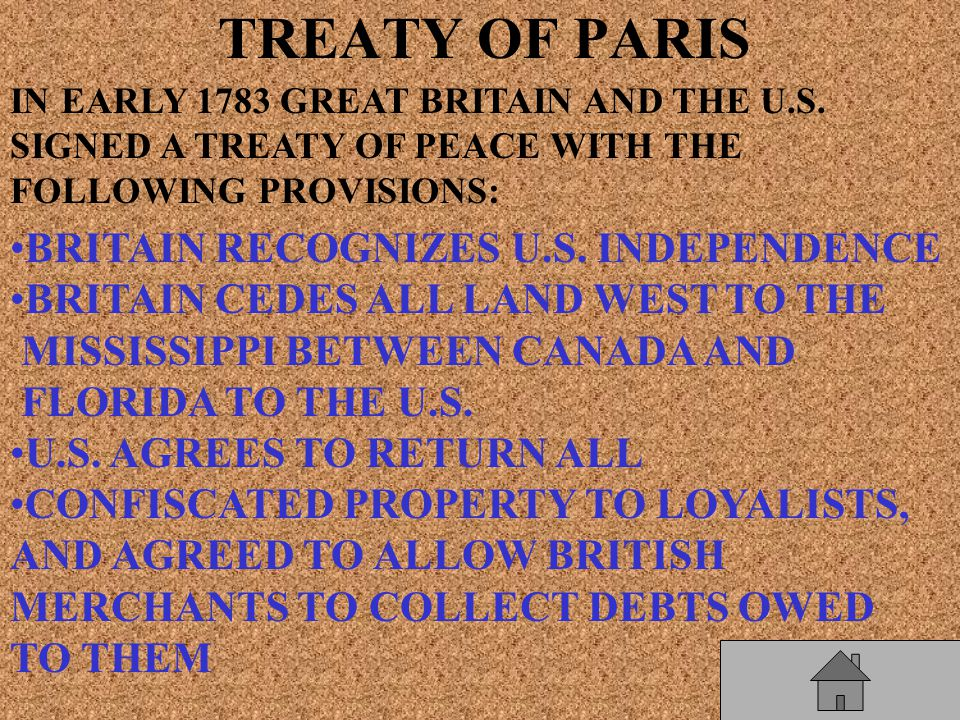 TREATY OF PARIS IN EARLY 1783 GREAT BRITAIN AND THE U.S.