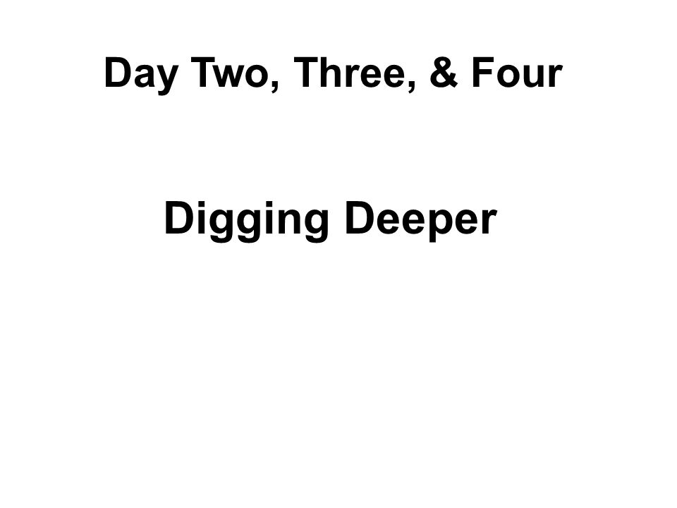 Day Two, Three, & Four Digging Deeper